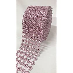 "Ben Collection 4"" X 10 Yards (30 Feet) Flower Diamond Mesh Faux Rhinestone Ribbon Wrap for Wedding, Party, and Events Decoration (Light Pink)"