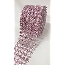 """Ben Collection 4"""" X 10 Yards (30 Feet) Flower Diamond Mesh Faux Rhinestone Ribbon Wrap for Wedding, Party, and Events Decoration (Light Pink)"""
