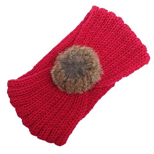 (UROSA Women Knitting Headband Handmade Keep Warm Hairband Hot Pink)