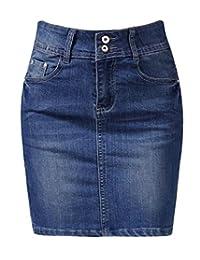 Cromoncent - Falda elástica para mujer, vaquera de alta elevación, verano, fina, lavada