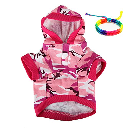 SMALLLEE_LUCKY_STORE Pink Camouflage Hoodie Pet Dog Clothes Camo Sweatshirt-XS Size