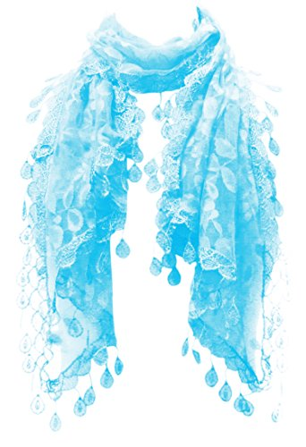 (LL Lace Scarf Womens Blue Leaf Lace Pattern with Rain Drop Tassels Oblong)