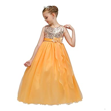 b2eff354fd37 Si Rosa by Hopscotch Girls Beautiful Sleeveless Party Dress in Yellow Colour  for Ages 4.5-