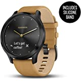 Garmin 010-01850-10 vívomove HR, Premium, Onyx Black Case with Tan Suede Band, (One Size Fits Most)