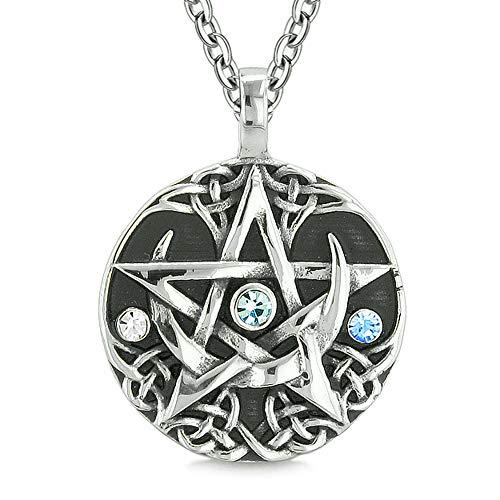 BestAmulets Amulet Pentacle Magic Star Celtic Defense Sky Blue White Crystals Pentagram Pendant 18 Inch Necklace