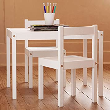 Lovely Kids Table And Chairs Set White Wood Childrenu0027s Set With One Table And 2  Chairs ,