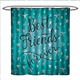 Anniutwo Quote Shower Curtain Customized Best Friends Forever Message on Scribbled and Hatched