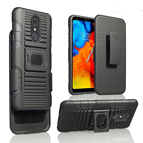 Case Armor Mag (For LG Stylo 4/Stylus 4 Case Belt Clip Holster Phone Case Mag Mount Ready Bumper 2 Kick stand Hybrid Armor Impact Cover (BLACK))