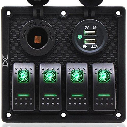 - FXC 4 Gang Rocker Switch Panel with Dual USB & Power Socket 12V-24V for Car Marine Boat Trailer