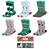 IMOZY Christmas Socks- Colorful Funky Patterned Crew Socks- 6 Pack With Gift Box- Polar Bears and Penguin- Size 4-6Years/ Shoe Size 10.5-13.5 for Little Kids