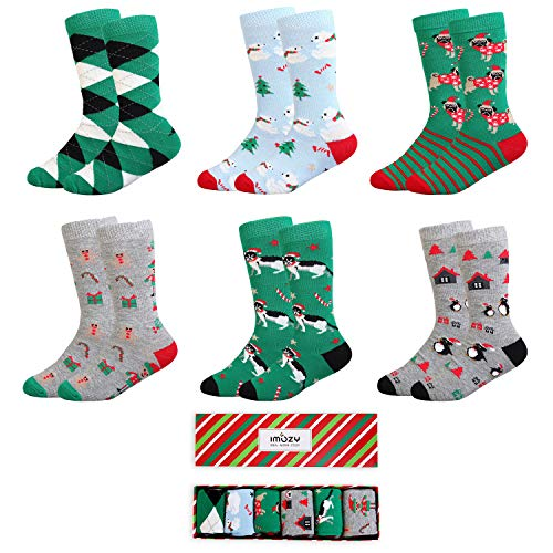 IMOZY Christmas Socks- Colorful Funky Patterned Crew Socks- 6 Pack With Gift Box- Polar Bears and Penguin- Size 2-3Years/ Shoe Size 6.5-10 for Toddlers ()