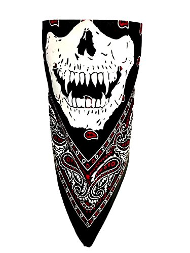 Black White Red Paisley Reversible Glow In The Dark Neon Vampire Calaveras Skull Adjustable Close Cotton Biker Bandanna Mask Face Cover -