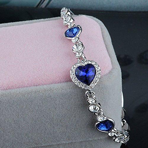 phitak shopCrystal Diamond Bracelet Fashion Bracelet Ocean Blue Heart Of The Sea Love