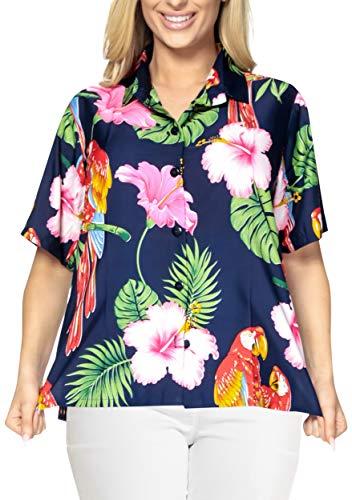 LA LEELA Womens Camp Hawaiian Blouse Shirt Casual Short Sleeve Fashion Printed