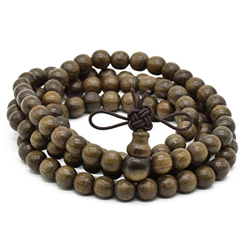 Rel Goods Unisex Natural Ebony Beads Link Tibetan Necklace Mala Bracelet Boutique Prayer Wood Bead (6mm108)