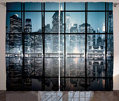 Ambesonne Modern Decor Curtains, Modern New York City Scenery at Night with Skyscrapers Buildings, Living Room Bedroom Window Drapes 2 Panel Set, 108 W X 96 L Inches, Black and ()