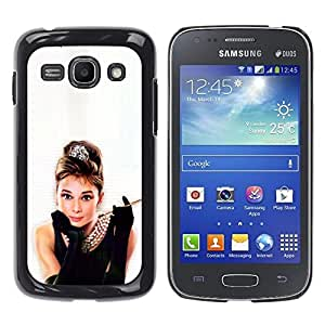 TECHCASE**Cubierta de la caja de protección la piel dura para el ** Samsung Galaxy Ace 3 GT-S7270 GT-S7275 GT-S7272 ** Audrey Actress Classic Little Black Dress Sexy