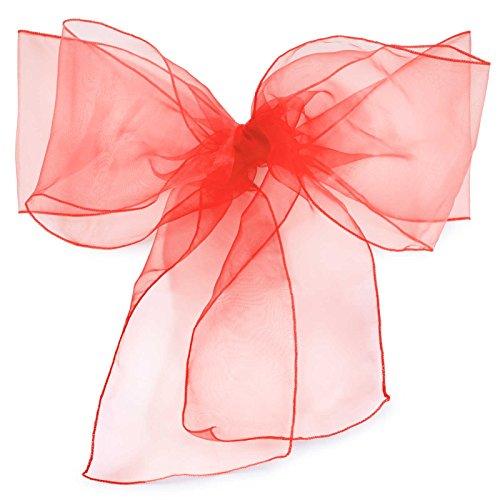 Lann's Linens - 10 Elegant Organza Wedding/Party Chair Cover Sashes/Bows - Ribbon Tie Back Sash - Red