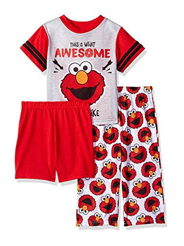 Sesame Street Boys' Toddler Elmo 3-Piece Pajama Set, Cherry red, 2T -
