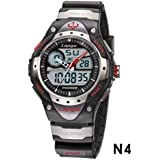 PASNEW High Quality Water-proof Dual Time Boys Girls Sport Watch N4