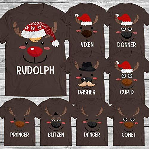 Rudolph Reindeer Face Santa Reindeer Group Matching Christmas Costume Kids & Adults Customized Handmade T-Shirt Hoodie/Long Sleeve/Tank Top/Sweatshirt
