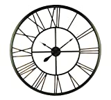 Elico Ltd. Metal Wall Clocks Two-Tone Metallic Finish Open Dial Compass Wall Clock 37.25 X 37.25 X 1.5 Inches Olive