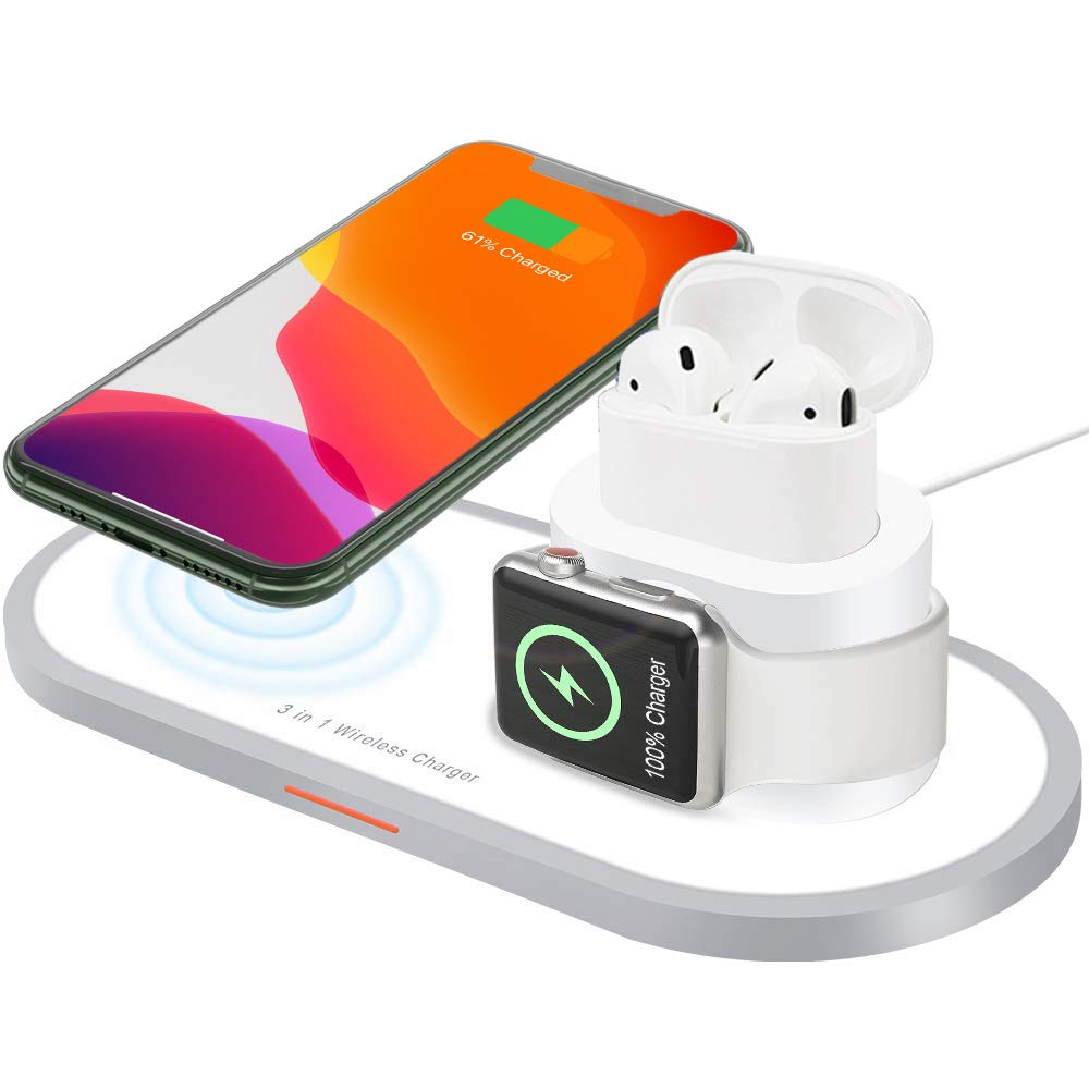 Wireless Charger,3 in 1 Wireless Charging Pad for iPhone Apple Watch iWatch Series 4/3/2/1& AirPods,Qi Fast Wireless Charging Station Dock Holder for iPhone Xs Max/Xs/Xr/X/8/8 Plus(White) by JSDTH