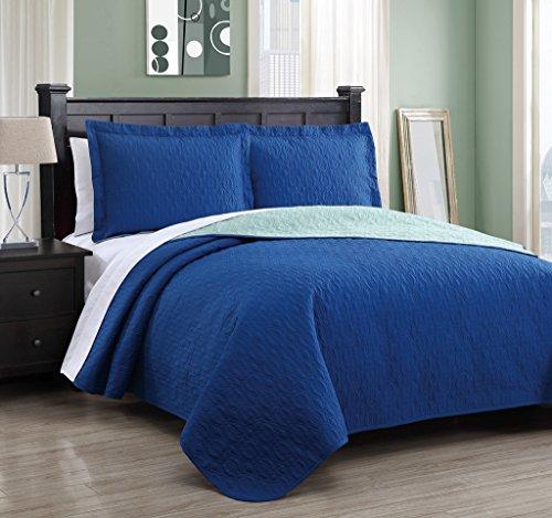 Dexter Royal Blue/Mint Reversible Bedspread/Quilt Set Queen