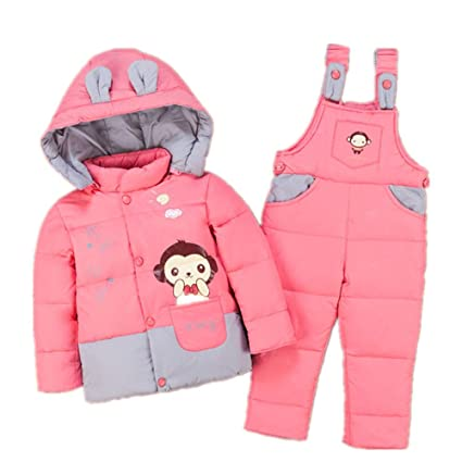 ece3ed3b7 Amazon.com  Kindlov Girls Warm Jacket Winter Warm Cute Baby Snowsuit ...