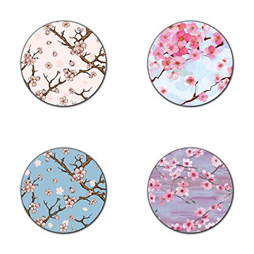 (Cherry blossom pattern round coaster set - Made of recycled rubber - set of 4)