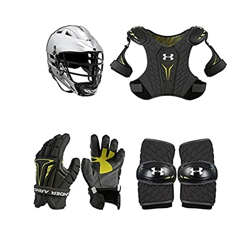 Lacrosse Starter Set 4-Piece (Cascade CS Helmet) Youth Sized Shoulder Pads Arm Pads & Gloves