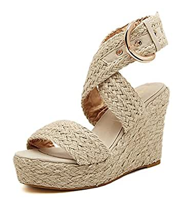 a8d59b8b6 SHOWHOW Women s Bohemian Open Toe Woven Cross Straps Mule Sandals Apricot 4  B(M)