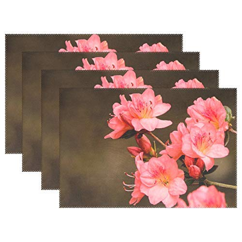 - Pink Azaleas Rhododendron Kurume Azalea Coral Bells Placemats Heat Insulation Stain Resistant for Dining Table Durable Non-Slip Kitchen Table Place Mats Set of 4
