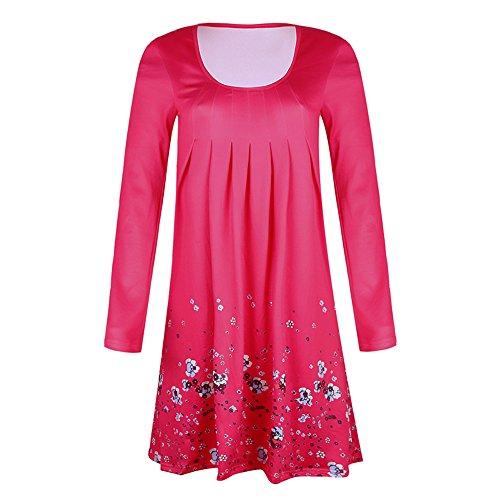Winsummer Womens Casual Loose Plain Dresses Vintage Floral Printed T ...