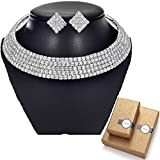 TENGZHEN Silver Rhinestone Choker Necklace and Earrings Jewelry Sets for Women Bridal Wedding Party Prom