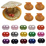 15PC Akoya Saltwater Oysters with 30 Pearls Inside, Cultured Love Wish Round Red Twin Pearl Oyster with Different Color (7-8mm)