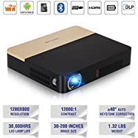 Pico 3D Bluetooth DLP Projector Mini with 2.4G/5G WiFi Inbuilt Speaker & 14,400mAh Battery 350 ANSI Lumen, Auto Keystone Wireless Proyector HDMI USB for Smartphones Direct TV PS3 DVD Outdoor Movies