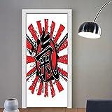 Gzhihine custom made 3d door stickers Japanese Decor Original Samurai Lettering over Sun Figure Emperor Man Power Superior Force Artful Theme Decor Red Black For Room Decor 30x79