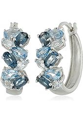 Sterling Silver Tonal Blue Topaz Hoop Earrings