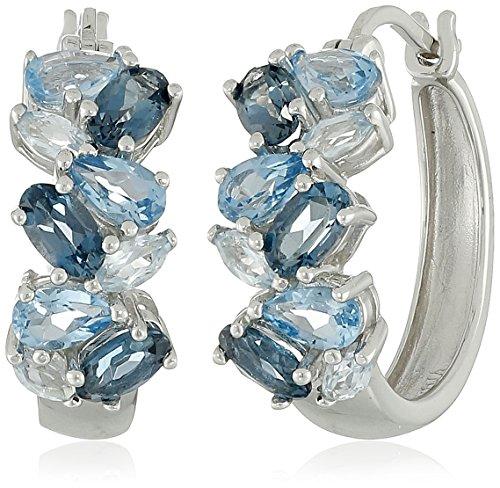 Gemstone Cluster Earrings - Sterling Silver Genuine Blue Topaz Tonal Gemstone Cluster Hoop Earrings