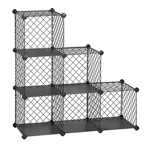 SONGMICS Interlocking Storage Rack, Metal Wire Mesh Cube Shelf, 6 Cube for Books, Shoes, Clothes, Ideal for Garage, Cellar, Office, Wardrobe, Stable, 36.6 L x 12.2 W x 36.6 H Inches Gray ULPX111GY (Rack Shoe Stair)