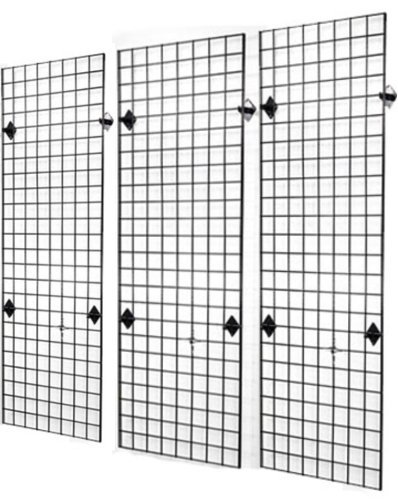 Commercial Grade 2' x 6' Grid Panel Wall Three Pack Combo with Wall Mount Brackets