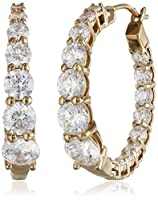 Plated Sterling Silver Swarovski Zirconia Graduated Round Hoop Earrings by Amazon Curated Collection