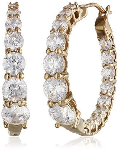 Yellow Gold Plated Sterling Silver Hoop Earrings set with Graduated Swarovski Zirconia (3.76 cttw), 1