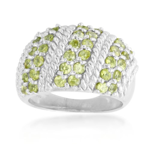 Natural Natural SPHENE White Gold Plated 925 Sterling Silver Rope Ring Size ()