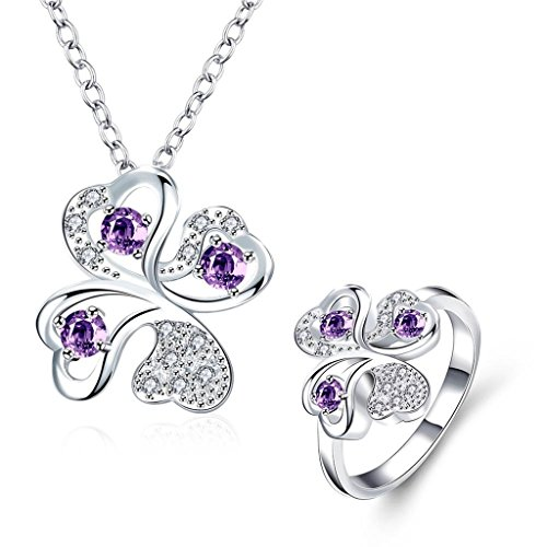 AmDxD Womens Jewelry Sets Earrings Necklace Gold Plated AAA Elements Crystal