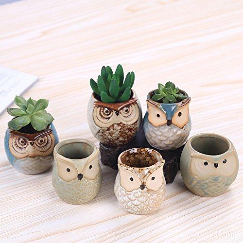 Set di 6 vasi in Ceramica a Forma di Gufo Wodeni