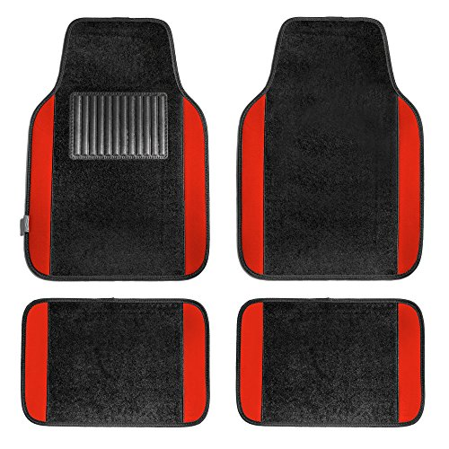 (FH Group F14407RED Premium Full Set Carpet Floor Mat (Sedan and SUV with Driver Heel Pad Red))