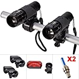 E-Goal Bike Light Set Front and Back (2pcs Cree Q5 LED Head Lights, 2 Hand Bar Flashlight Holders, Tail Rear Light and 2 Wheel Valve Lights As Gifts) Zoomable Twin Front Torch up to 500 Lumen