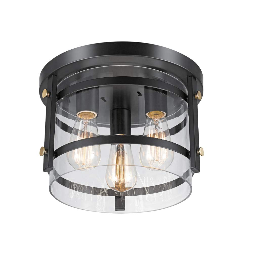Globe Electric Wexford 3-Light Flush Mount Ceiling Light, Dark Bronze, Brass Detail, Clear Glass 60417
